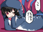 1girl asymmetrical_wings black_hair bow chin_rest commentary_request costume hammer_(sunset_beach) houjuu_nue looking_at_viewer lying on_stomach one_eye_closed red_eyes solo touhou translated whale_shark wings