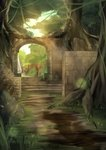 absurdres arch brick_wall day forest highres light_particles nature no_humans original outdoors path plant road rock ruins scenery sunlight v0ru_(user_ucgx8234) vines