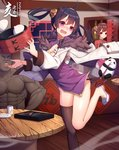 1boy 2019 2girls abs absurdres ahoge architecture azur_lane baozi black_hair black_legwear blush breasts brown_hair bun_cover china_dress chinese_clothes cleavage cleavage_cutout clenched_teeth closed_eyes clumsy coat cowboy_shot cup dark_skin dress dumpling east_asian_architecture fang food fur_trim highres long_sleeves manatsu_no_yo_no_inmu medium_hair multiple_girls muscle new_year ning_hai_(azur_lane) open_mouth panda ping_hai_(azur_lane) purple_dress purple_eyes red_dress red_eyes restaurant shirtless shoes short_dress single_thighhigh small_breasts teabag teeth thighhighs twintails yajuu_senpai yan_mian