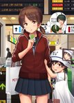 black_hair blurry blush brown_eyes brown_hair card cellphone commentary depth_of_field dress eyebrows_visible_through_hair food fruit helmet hiburi_(kantai_collection) highres holding holding_card holding_hand ichikawa_feesu jacket kantai_collection looking_at_viewer low_ponytail low_twintails luggage mogami_(kantai_collection) open_mouth parted_lips phone pleated_skirt pun red_jacket revision sailor_dress school_uniform serafuku shirayuki_(kantai_collection) short_hair short_sleeves skirt suica sweatdrop translated twintails watermelon white_dress