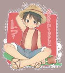 1boy 89usagi abs armpits barefoot black_hair blush boned_meat brown_eyes character_name chromatic_aberration closed_mouth copyright_name crossed_legs denim denim_shorts disconnected_mouth eating food food_on_face full_body fur-trimmed_shorts grey_shorts hand_on_headwear hat highres holding holding_food legs male_focus meat monkey_d_luffy muscle one_piece open_clothes open_vest pirate plaid plaid_background red_vest sandals scar shorts silhouette_demon solo straw_hat unbuttoned vest
