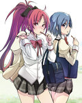 2girls bag blue_eyes blue_hair blush bow dress_shirt food hair_bow holding_jacket jacket jacket_removed long_hair long_sleeves looking_at_viewer mahou_shoujo_madoka_magica miki_sayaka multiple_girls pocky ponytail red_eyes red_hair revision sakayama_shinta sakura_kyouko school_bag school_uniform shirt short_hair very_long_hair