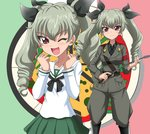 1girl ;d anchovy anzio_military_uniform anzio_school_uniform black_bow black_neckwear black_shirt bow brown_eyes brown_jacket brown_pants drill_hair eyebrows_visible_through_hair girls_und_panzer green_hair hair_between_eyes hair_bow hanzou holding_whip jacket long_hair long_sleeves looking_at_viewer miniskirt necktie one_eye_closed open_mouth pants pleated_skirt sailor_collar shiny shiny_hair shirt skirt smile standing twin_drills twintails white_shirt