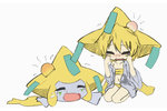 1girl blonde_hair closed_eyes commentary crying head_bump injury jirachi kneeling lying metal_(xmetalx) moemon on_stomach pokemon pokemon_(creature) pokemon_(game) simple_background white_background