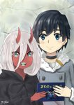1boy 1girl absurdres bandages black_cloak black_hair blue_eyes blush book candy cloak coat commentary couple darling_in_the_franxx eyebrows_visible_through_hair eyes_visible_through_hair food food_in_mouth fur_trim gap-yellow green_eyes grey_coat hetero highres hiro_(darling_in_the_franxx) holding holding_book hood hooded_cloak horns in_mouth long_hair looking_at_viewer oni_horns parka pink_hair red_horns red_pupils red_sclera red_skin short_hair signature spoilers winter_clothes winter_coat younger zero_two_(darling_in_the_franxx)