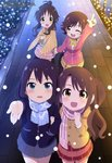 4girls absurdres bare_legs black_hair black_jacket blue_eyes blue_scarf blush bow bowtie brown_hair brown_jacket bush cinderella_girls_gekijou frilled_skirt frills green_shirt grey_skirt hand_in_pocket hand_on_another's_arm highres holding_hands honda_mio idolmaster idolmaster_cinderella_girls jacket light_brown_eyes long_hair megami multicolored multicolored_stripes multiple_girls night official_art open_mouth outdoors outstretched_hand pink_jacket pink_scarf pink_skirt plaid plaid_scarf plaid_skirt pleated_skirt pointing ponytail print_scarf red_skirt scan scarf school_uniform shibuya_rin shimamura_uzuki shirt short_hair side_ponytail skirt smile snow striped striped_skirt takamori_aiko takatsu_tomoko tamado_sao white_shirt yellow_neckwear yoshihara_masayo