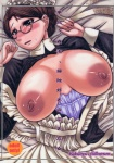 1girl :o apron apron_pull areolae bed_sheet black_eyes blush breasts breasts_apart breasts_outside brown_hair clenched_hands corset cover cover_page doujin_cover doujinshi dress dutch_angle embarrassed emma_(victorian_romance_emma) frame frilled_apron frills from_above glasses hair_bun hat highres huge_breasts indoors kokuryuugan large_areolae looking_at_viewer lying maid mature nipples no_bra non-web_source on_back open_clothes open_dress open_mouth rating ribbon sagging_breasts scan short_hair solo strap_slip sweat turtleneck upper_body victorian_romance_emma