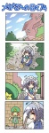 +++ 1girl 4koma =_= blue_eyes braid broom closed_eyes colonel_aki comic cosplay hong_meiling hong_meiling_(cosplay) izayoi_sakuya scarecrow short_hair silent_comic silver_hair smile solo touhou translated