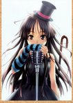 """1girl absurdres akiyama_mio bangs black_eyes black_hair blunt_bangs don't_say_""""lazy"""" dress fingerless_gloves gloves goto_p hat highres hime_cut k-on! long_hair microphone microphone_stand mini_hat mini_top_hat scan solo striped top_hat"""