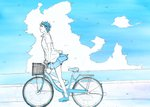 1girl bicycle bicycle_basket blue blue_bicycle blue_footwear blue_sky closed_mouth cloud collared_shirt commentary_request from_side ground_vehicle highres monochrome ocean original pleated_skirt shirt shoes short_hair short_sleeves skirt sky smile solo white_shirt wing_collar yokotakumi