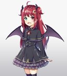 1girl :d bangs bat_hair_ornament black_capelet black_dress black_legwear blush capelet commentary_request cowboy_shot crescent crescent_hair_ornament demon_girl demon_horns demon_wings dress eyebrows_visible_through_hair fang frilled_capelet frilled_dress frills gradient gradient_background green_eyes grey_background hair_ornament heterochromia horns long_hair looking_at_viewer neck_ribbon nijisanji open_mouth red_eyes red_hair red_ribbon ribbon skindentation smile solo syuurin thighhighs two_side_up very_long_hair virtual_youtuber white_background wings yuzuki_roa