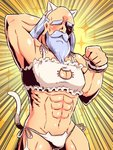 1boy abs animal_ears arm_up bare_shoulders beard bra cat_cutout cat_ear_panties cat_ears cat_lingerie cat_tail catboy cleavage_cutout crossdressing emphasis_lines facial_hair facing_viewer fake_animal_ears frilled_bra frills groin hand_behind_head hand_up head_tilt male_focus meme_attire monk_(sekaiju) muscle mustache naga_u old_man panties sekaiju_no_meikyuu sekaiju_no_meikyuu_3 side-tie_panties silver_hair solo sparkle_background tail tail_raised thick_eyebrows underwear underwear_only white_bra white_panties yellow_background