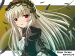 1girl dress feathers gucchi hairband long_hair purple_eyes rozen_maiden silver_hair solo suigintou