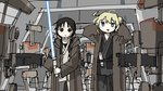2girls black_eyes black_hair blonde_hair blue_eyes chito_(shoujo_shuumatsu_ryokou) clothing_request cosplay energy_sword highres holding holding_sword holding_weapon jedi lightsaber long_hair multiple_girls obi-wan_kenobi obi-wan_kenobi_(cosplay) open_mouth qui-gon_jinn qui-gon_jinn_(cosplay) shoujo_shuumatsu_ryokou standing star_wars star_wars:_the_phantom_menace sword tsukumizu_yuu twintails v-shaped_eyebrows weapon yuuri_(shoujo_shuumatsu_ryokou)