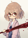 1girl :| blood blue_neckwear blue_ribbon blue_sailor_collar blush_stickers bob_cut brown_eyes brown_hair cardigan closed_mouth commentary_request glasses gradient gradient_background grey_background holding holding_sword holding_weapon kuriyama_mirai kyoukai_no_kanata long_sleeves looking_at_viewer neck_ribbon paprika_shikiso red-framed_eyewear ribbon sailor_collar school_uniform serafuku short_hair solo sword v-shaped_eyebrows weapon
