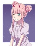 1girl alternate_hairstyle bangs blue_eyes center_frills darling_in_the_franxx double_bun dress eyebrows_visible_through_hair grin highres horns k_016002 long_hair looking_at_viewer one_eye_closed oni_horns pink_hair puffy_short_sleeves puffy_sleeves red_horns short_sleeves sidelocks smile solo star starry_background white_dress zero_two_(darling_in_the_franxx)