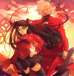 1boy 1girl absurdres archer back-to-back black_bow black_legwear black_skirt bow brown_eyes brown_hair dutch_angle fate/stay_night fate_(series) floating_hair green_eyes hair_bow hair_intakes hand_on_hip heart highres holding holding_sword holding_weapon huge_filesize jewelry long_hair long_sleeves looking_at_viewer looking_back miniskirt necklace parted_lips pleated_skirt red_shirt shirt silver_hair skirt smile standing sword thighhighs tmtm24787088 toosaka_rin unlimited_blade_works very_long_hair weapon zettai_ryouiki