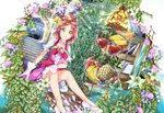 1girl apple banana brown_hair choker collarbone commentary_request cure_flora dress dutch_angle flower food fruit gloves go!_princess_precure green_eyes hair_flower hair_ornament haruno_haruka high_heels highres looking_at_viewer parted_lips pink_dress precure pumps purple_flower shiny shiny_hair short_dress short_hair short_sleeves sitting smile solo stairs tied_hair veil watermelon white_footwear white_gloves white_sleeves yuutarou_(fukiiincho)