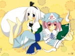 2girls bad_anatomy barefoot blue_eyes blush bob_cut expressionless hair_ribbon hat hitodama japanese_clothes kimono konpaku_youmu konpaku_youmu_(ghost) kuroyura looking_at_viewer lying multiple_girls pink_hair puffy_sleeves red_eyes ribbon saigyouji_yuyuko short_sleeves touhou triangular_headpiece white_hair