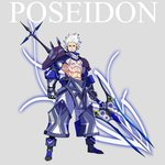 1boy armor bare_chest character_name chest_tattoo commentary_request full_body gauntlets glowing_tattoo greek_mythology grey_background highres looking_at_viewer mecha_danshi muscle original palow pants polearm poseidon_(mythology) shoulder_armor solo tattoo trident weapon white_hair yellow_eyes