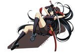 1girl akame akame_ga_kill! armor armpits bare_shoulders black_dress black_gloves black_hair black_legwear breasts commentary dress full_body gloves hair_between_eyes holding holding_sword holding_weapon japanese_armor katana kote large_breasts loafers long_hair looking_away parted_lips red_eyes scabbard sheath shoes short_dress shorts_under_dress socks solo sword tony_guisado very_long_hair weapon