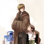 2boys astromech_droid ben_solo brown_hair child cloak closed_eyes looking_at_another luke_skywalker male_focus matsuri6373 multiple_boys r2-d2 robot signature star_wars uncle_and_nephew younger