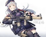 1girl ammunition android assault_rifle bag bangs beret black_legwear blood blunt_bangs commentary_request earbuds earphones facial_mark girls_frontline gloves goggles goggles_around_neck green_eyes grimace gun hair_ornament handgun hat heckler_&_koch highres hk416 hk416_(girls_frontline) holster holstered_weapon injury itou_(onsoku_tassha) pistol plaid plaid_skirt rifle scope shoulder_bag silver_hair skirt tearing_up tears thighhighs torn_clothes torn_legwear torn_sleeves weapon