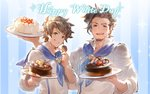2boys ascot blue_background blueberry brown_eyes brown_hair cake chef_uniform chocolate_cake facial_hair food fruit goatee gran_(granblue_fantasy) granblue_fantasy grin looking_at_viewer male_focus minaba_hideo multiple_boys official_art open_mouth plate rackam_(granblue_fantasy) simple_background smile sparkle strawberry striped striped_background upper_body vertical_stripes wafer white_day