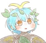 1girl :o antennae bad_id bad_twitter_id bangs blue_hair blush brown_eyes commentary_request eternity_larva gyate_gyate leaf leaf_on_head looking_at_viewer parted_lips sasa_kichi short_hair simple_background solo touhou upper_body white_background