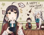 /\/\/\ 3girls :d ahoge alcohol animal_ears arm_up asashimo_(kantai_collection) bangs black_hair blonde_hair blue-framed_eyewear blue_bow blue_neckwear blush bottle bow bowl bowtie brown_mittens chopsticks cup dated dotera_(clothes) drinking_glass eating eyebrows_visible_through_hair food fujinami_(kantai_collection) glasses green_eyes happy_new_year highres holding holding_bottle holding_bowl kantai_collection kotatsu long_hair long_sleeves miroku_san-ju mochi multicolored_hair multiple_girls new_year okinami_(kantai_collection) open_clothes open_mouth oven_mitts purple_skirt purple_vest romaji sharp_teeth shoes side_glance side_ponytail silver_hair skirt smile sparkle speech_bubble steam surprised sweatdrop table teeth two-tone_background two-tone_hair upper_body v-shaped_eyebrows very_long_hair vest wagashi yellow_eyes