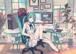 1girl alternate_costume aqua_eyes aqua_hair black_legwear blinds bow bowtie bug butterfly cactus chair chibi city cloud collaboration commentary_request computer computer_tower dress eyebrows_visible_through_hair figure flower green_eyes green_hair hair_between_eyes hatsune_miku headphones headset highres indoors insect ixima keyboard_(computer) leg_up long_hair looking_at_viewer monitor mouse_(computer) office_chair parted_lips picture_(object) plant pleated_skirt potted_plant ribbon sitting skirt socks solo speaker suspender_skirt suspenders twintails very_long_hair vocaloid window