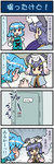 +_+ 4koma animal animal_ears animal_on_head artist_self-insert blue_eyes blue_hair blush clenched_hands closed_eyes comic commentary door embarrassed emphasis_lines excited gradient gradient_background grey_hair heterochromia highres holding holding_umbrella jewelry juliet_sleeves kyubey long_sleeves mahou_shoujo_madoka_magica mizuki_hitoshi mouse_ears nazrin necklace on_head open_mouth puffy_sleeves red_eyes shawl short_hair sitting sitting_on_head sitting_on_person smile sweatdrop tatara_kogasa touhou translated umbrella vest
