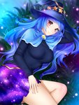 1girl black_hair blue_capelet blue_hair blue_sky breasts capelet earrings galaxy_print gigamessy grass hat_ornament jewelry large_breasts long_hair lying on_side original outdoors plant purple_skirt red_eyes skirt sky smile solo star star_earrings very_long_hair witch