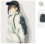 1girl backpack bag bangs baseball_cap black_headwear blue_pants blush brown_hair brown_jacket closed_mouth commentary_request doran_(dorannomai) drawstring eyebrows_visible_through_hair grey_background grey_hoodie hand_up hat highres hood hood_down hoodie idolmaster idolmaster_shiny_colors jacket long_sleeves pants red_eyes shirt sidelocks sleeves_past_wrists solo sonoda_chiyoko translation_request upper_body white_shirt