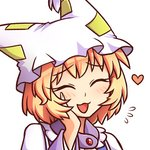 1girl :3 :d ^_^ bangs blonde_hair blue_dress closed_eyes commentary commission dress eyebrows_visible_through_hair flying_sweatdrops frilled_shirt_collar frills hand_on_own_cheek hand_up hat heart long_sleeves open_mouth pillow_hat portrait short_hair simple_background smile solo tabard touhou white_background wide_sleeves wool_(miwol) yakumo_ran