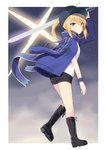 1girl ahoge arm_up artoria_pendragon_(all) bangs baseball_cap black_footwear black_hat black_shorts blonde_hair blue_eyes blue_jacket blue_scarf boots closed_mouth eyebrows_visible_through_hair fate/stay_night fate_(series) full_body hair_between_eyes hair_through_headwear hat highres holding holding_sword holding_weapon jacket jacket_on_shoulders left-handed leg_up long_sleeves looking_at_viewer medium_hair mysterious_heroine_x open_clothes open_jacket over_shoulder ponytail rojiura_satsuki:_chapter_heroine_sanctuary scarf shirt shorts sidelocks solo standing standing_on_one_leg sword track_jacket weapon weapon_over_shoulder white_shirt wristband yukarite