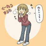 1girl >_< blonde_hair closed_eyes denim eating food hamoya happy holding jeans kuneru_marta marta medium_hair pants shoes smile sneakers solo standing text translation_request turtleneck
