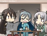 3girls :d =_= ahoge akitsushima_(kantai_collection) apron black_hair blue_hair blush breakfast commentary_request dated elbow_gloves gloves grey_hair hamu_koutarou hat headgear kantai_collection kiyoshimo_(kantai_collection) long_hair multicolored_hair multiple_girls mutsu_(kantai_collection) mutsu_(snail) nagato_(kantai_collection) newspaper open_mouth pajamas purple_eyes red_eyes rice_bowl seiza side_ponytail sitting smile table yawning