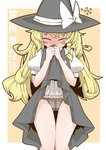 1girl black_panties blush blush_stickers full-face_blush hat kirisame_marisa lace lace_panties lifted_by_self long_hair messy_hair panties skirt skirt_lift solo sweat tears thigh_gap touhou underwear witch_hat zannen_na_hito