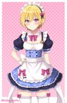 1girl :o alternate_costume apron blonde_hair blue_bow blue_dress blush bow bowtie breasts character_name cleavage commentary_request cowboy_shot detached_collar dress enmaided frilled_apron frilled_sleeves frills hair_bow halftone halftone_background hand_on_hip heart highres idolmaster idolmaster_shiny_colors looking_at_viewer maid maid_headdress medium_breasts name_tag pink_background pink_bow pink_neckwear purple_eyes saijou_juri sakurai_makoto_(custom_size) short_hair short_sleeves solo sweatdrop thighhighs twitter_username waist_apron white_apron white_legwear wrist_cuffs