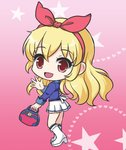 1girl :d aikatsu! aikatsu!_(series) bag bangs blazer blonde_hair blue_jacket blush boots eyebrows_visible_through_hair full_body hair_between_eyes hair_ribbon hairband heart heart_background high_heel_boots high_heels holding holding_bag hoshimiya_ichigo jacket knee_boots long_hair looking_at_viewer looking_to_the_side nekono_rin open_mouth pleated_skirt red_eyes red_hairband red_ribbon ribbon skirt smile solo standing star starlight_academy_uniform starry_background very_long_hair white_footwear white_skirt