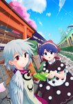2girls :3 architecture black_skirt blue_eyes blue_hair blue_sky braid brochure bush cherry_blossoms cloud collared_dress day doremy_sweet dress east_asian_architecture eating fence grey_jacket ground_vehicle hair_between_eyes hat hedge_(plant) highres kishin_sagume long_sleeves looking_at_viewer looking_back multiple_girls nightcap outdoors pavement petals pom_pom_(clothes) purple_dress red_eyes red_hat senbei short_hair short_sleeves signpost silver_hair single_wing sisikuku skirt sky stairs statue tareme torii touhou train wings