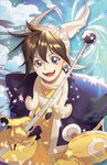 1boy bangs black_hair blue_eyes cloud commentary_request dated gloves hair_between_eyes hat holding holding_wand houshin_engi index_finger_raised looking_at_viewer male_focus open_mouth shabomu signature smile solo sparkle taikoubou upper_body wand wind yellow_gloves yin_yang