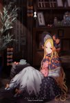 1girl abigail_williams_(fate/grand_order) absurdres bangs black_bow blonde_hair bonnet bow dress fate/grand_order fate_(series) forehead highres long_hair long_sleeves looking_at_viewer multiple_bows orange_bow parted_bangs polka_dot polka_dot_bow red_eyes sitting solo stuffed_animal stuffed_toy teddy_bear wang_man white_dress