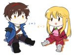 2boys anchor armband blonde_hair boots brown_eyes brown_hair chibi coat cravat jewelry multicolored_hair multiple_boys necklace open_mouth ponytail sitting smile streaked_hair umineko_no_naku_koro_ni ushiromiya_lion willard_h_wright yang38 yellow_eyes |_|
