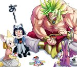 1boy 2girls animal_ears black_hair blank_eyes blonde_hair boots bow bowtie bracelet broly card chest closed_mouth commentary common_raccoon_(kemono_friends) crossover crying crying_with_eyes_open demon_tail demon_wings doitsuken dragon_ball dragon_ball_z dragon_quest dragon_quest_v earrings extra_ears fennec_(kemono_friends) fork fox_ears fox_tail full_body fur_collar gloves grey_hair holding holding_card indian_style jewelry kemono_friends knees_up legendary_super_saiyan long_hair metal_slime minidemon multicolored_hair multiple_crossover multiple_girls muscle necklace o_o open_mouth pants pantyhose pink_sweater playing_card playing_games pointing raccoon_ears raccoon_tail shirtless short_hair sitting skirt smile spiked_hair streaming_tears striped_tail sweater tail tears two-tone_hair uno_(game) white_hair wings