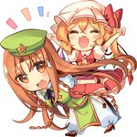 2girls :d ^_^ alternate_eye_color arms_up ascot black_neckwear blonde_hair blush bow braid breasts brown_hair carrying chibi china_dress chinese_clothes closed_eyes crystal dress eyebrows_visible_through_hair eyes_visible_through_hair fangs flandre_scarlet full_body green_dress happy hat hat_bow hong_meiling kirero leaning_forward long_hair looking_back mob_cap multiple_girls no_nose open_mouth pants pants_under_dress piggyback puffy_pants puffy_short_sleeves puffy_sleeves red_hair shirt shoes short_hair short_sleeves side_ponytail simple_background skirt skirt_set smile sweatdrop touhou twin_braids very_long_hair white_background white_shirt wings wrist_cuffs yellow_neckwear