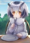 1girl :/ bangs black_hair blonde_hair blue_sky blush buttons chair clenched_hand cloud cloudy_sky coat collar day dish dot_nose expressionless eyebrows_visible_through_hair eyelashes fingernails fluffy_collar fur_collar gradient_hair grey_hair hair_between_eyes hand_up head_wings holding holding_spoon kemono_friends light light_brown_eyes long_sleeves looking_at_viewer multicolored_hair northern_white-faced_owl_(kemono_friends) outdoors short_hair sitting sky solo spoon spoon_in_mouth table tareme tree upper_body usamito white_coat white_hair wings wooden_chair wooden_table