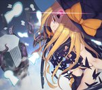 1girl abigail_williams_(fate/grand_order) asymmetrical_legwear bangs black_bow black_hat black_legwear black_panties blonde_hair bow bug butterfly commentary eyebrows_visible_through_hair eyes_visible_through_hair fate/grand_order fate_(series) forehead glowing glowing_eye grin hat hat_bow highres insect key keyhole long_hair looking_at_viewer nanao_(aoyamahikari) orange_bow oversized_object panties parted_bangs pillar polka_dot polka_dot_bow purple_eyes red_eyes revealing_clothes single_thighhigh skull_print smile solo space star_(sky) suction_cups teeth tentacles thighhighs topless underwear very_long_hair witch_hat