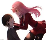 1boy 1girl bangs black_hair black_legwear blue_eyes blush commentary_request couple darling_in_the_franxx dress face-to-face facing_another floating floating_hair green_eyes grey_shirt hair_ornament hairband hand_on_another's_face hands_on_another's_face hetero hiro_(darling_in_the_franxx) horns kiri_ph long_hair long_sleeves looking_at_another military military_uniform necktie oni_horns orange_neckwear pantyhose pink_hair red_dress red_horns shirt short_hair uniform white_hairband zero_two_(darling_in_the_franxx)